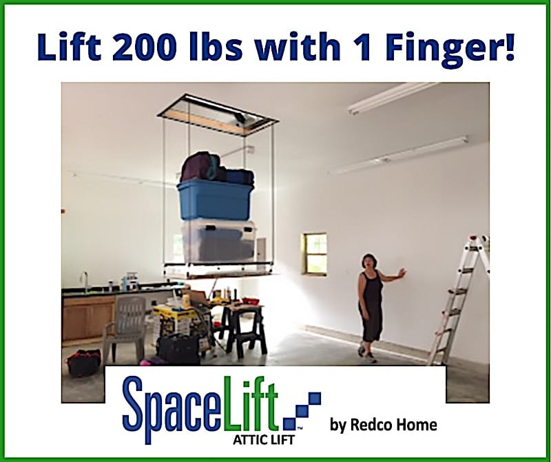 convenient home storage demonstrated by attic lift loaded with storage containers and customer pushing button to lift it all, headline is Lift 200 lbs with 1 Finger