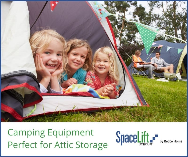 camping gear with kids in tent shows attic storage is great for camping families