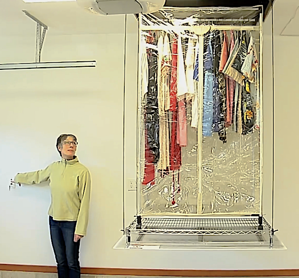 Shows a portable wardrobe with seasonal clothes in and out of attic storage. Convenient home storage is looking up!