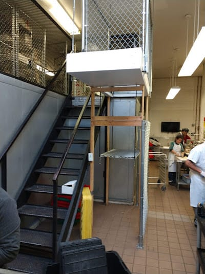 SpaceLift attic lift commercial kitchen installation