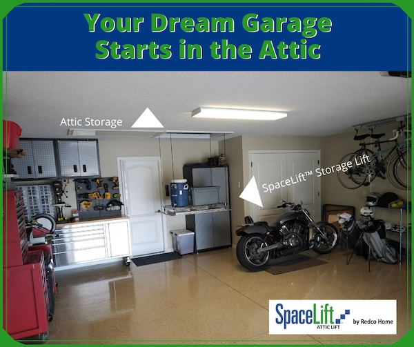 Your dream garage starts in the attic, showing SpaceLift attic lift with beautiful garage. Park your car inside. A SpaceLift helps make space.