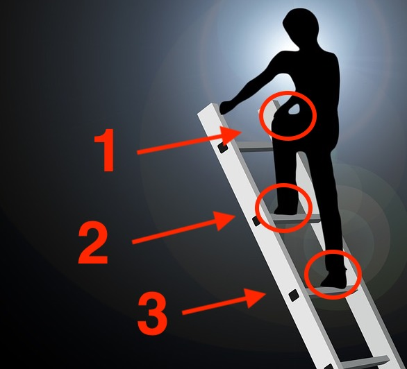 ladder safety showing proper three points of contact