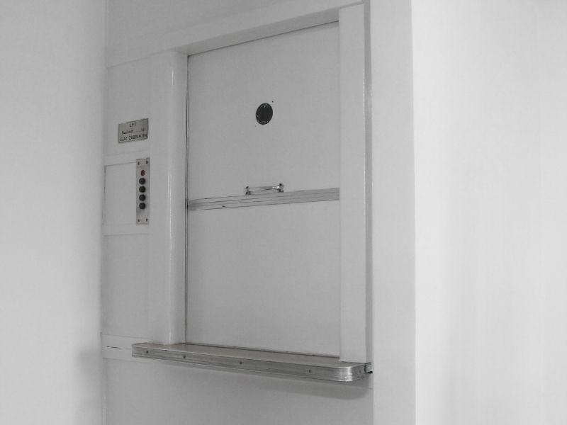 dumbwaiter shown like for a home or restaurant. A SpaceLift is like a dumbwaiter for attic storage
